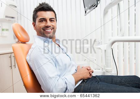 Man at the dentist for dental care