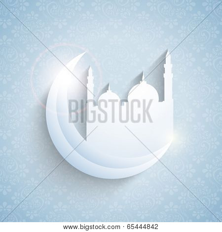 Creative paper design of a mosque with crescent moon on blue background for holy month of muslim community Ramadan Kareem.