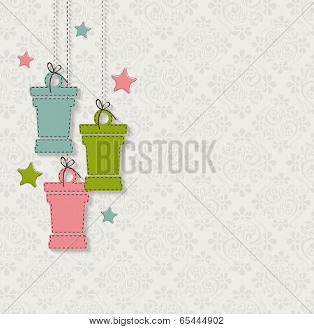 Elegant greeting card design with hanging arabic lanterns on seamless floral pattern for holy month of muslim community festival.