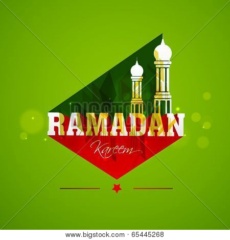 Creative poster, banner or flyer design with stylish text Ramadan Kareem and mosque on shiny green background for holy month of Ramadan Kareem.