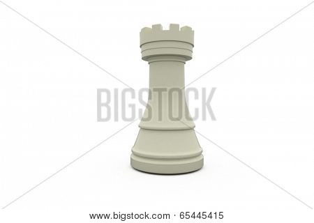 Digitally generated white rook standing alone on white background
