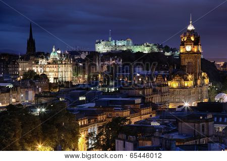 sunset over night Edinburgh from Calton Hill, Scotland