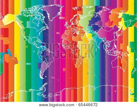 World map with countries and colored timezones  in editable vector format