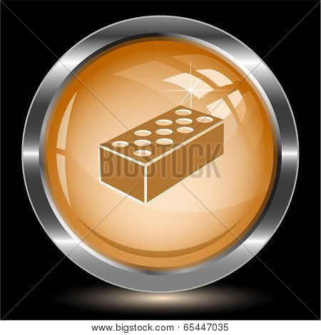 Hollow brick. Internet button. Vector illustration.