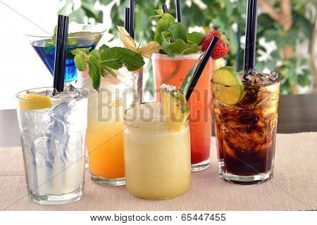 assorted cocktail drinks.