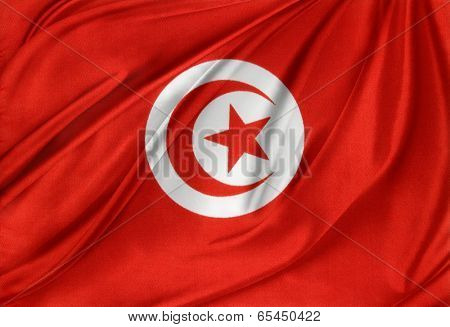 Closeup of silky Tunisia flag