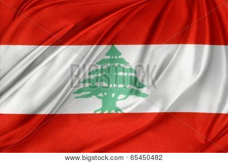 Closeup of silky Lebanese flag