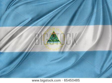 Closeup of silky Nicaraguan flag