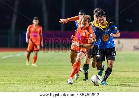 Sisaket Thailand-may 21: Albert Manteca Baldo Of Sisaket Fc. (orange) In Action During Thaicom Fa Cu