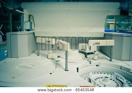 chemistry analyzer machine on laboratory in hospital