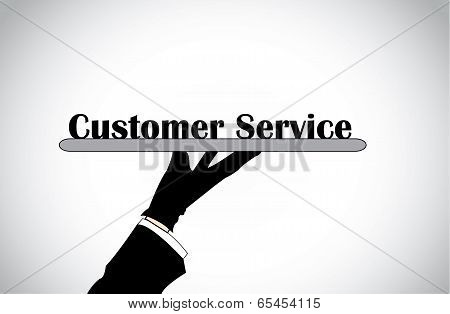 Profesional Hand Silhouette Presenting Customer Service Text - Concept Illustration