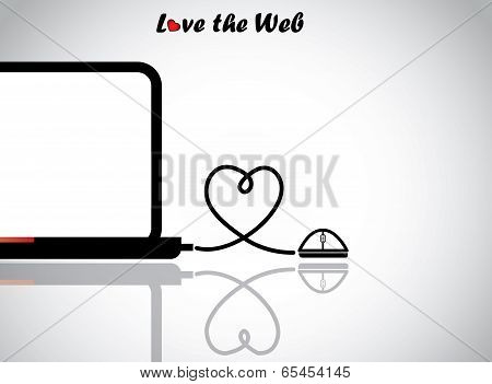 Notebook Laptop And Mouse With Love Heart Shaped Wire Connection - Love Technology Or Web Concept