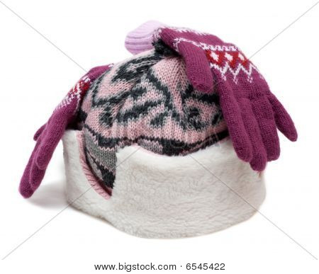 Winter Hat With Fur And Violet Gloves