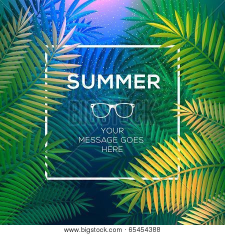 Summer tropical concept, paradise with palm leaves