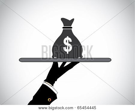 Moneybag Bank Savings Or Financial Investment - Hand Presenting Money Bag Of American Dollar