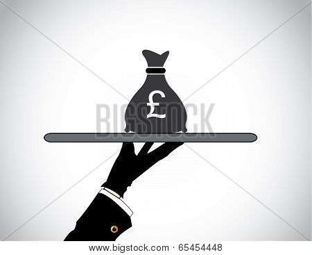 Moneybag Bank Savings Or Financial concept - Hand Presenting Money Bag Of British Pound Sterling