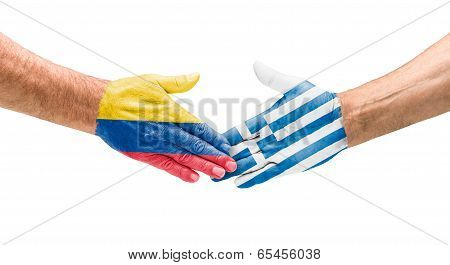 Handshake Colombia and Greece on a white background