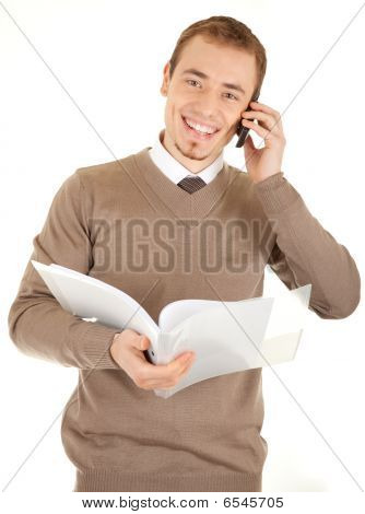 Smiling Well-dressed Man With Documents And Phone
