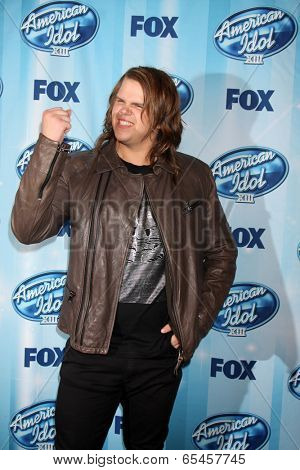 LOS ANGELES - MAY 21:  Caleb Johnson, Winner American Idol at the American Idol Season 13 Finale at Nokia Theater at LA Live on May 21, 2014 in Los Angeles, CA