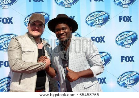 LOS ANGELES - MAY 21:  Dexter Roberts, C.J. Harris at the American Idol Season 13 Finale at Nokia Theater at LA Live on May 21, 2014 in Los Angeles, CA