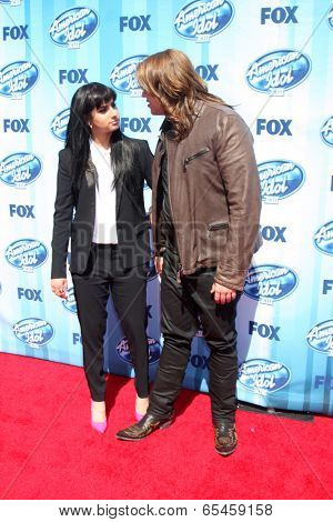 LOS ANGELES - MAY 21:  Jena Irene, Caleb Johnson at the American Idol Season 13 Finale at Nokia Theater at LA Live on May 21, 2014 in Los Angeles, CA