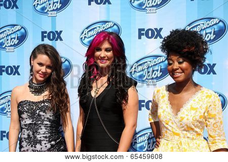 LOS ANGELES - MAY 21:  Kristen O'Connor, Jessica Meuse, Majesty Rose at the American Idol Season 13 Finale at Nokia Theater at LA Live on May 21, 2014 in Los Angeles, CA