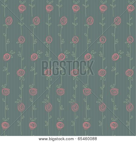 Seamless Floral Pattern With Abstract Roses Flowers