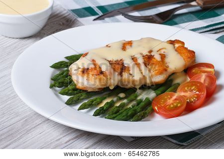 Grilled Chicken Fillet With Asparagus And Sauce