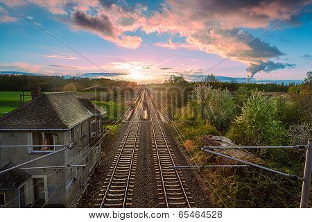 Railway With  Sunrise