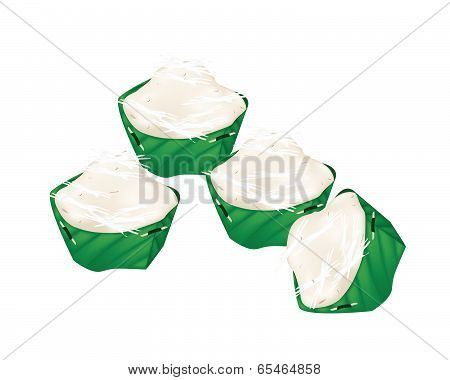 Stack Of Thai Banana Jelly In Counts Banana Leaf