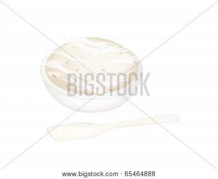 Thai Dessert Of Banana Pudding With A Spoon