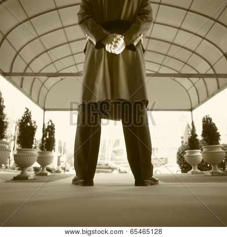 Bellboy Waiting For A Client In An Hotel Entrance