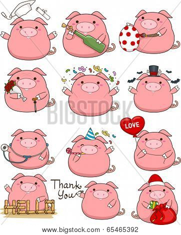 Illustration Featuring a Cute Set of Pigs