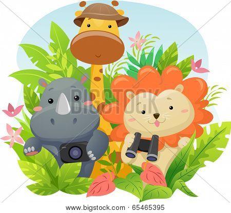 Illustration Featuring Cute Safari Animals on a Jungle Adventure