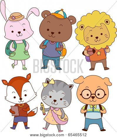 Illustration Featuring Cute Animals Dressed as Students