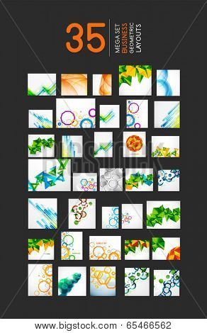 Mega set of business geometric layout abstract templates. 35 backgrounds