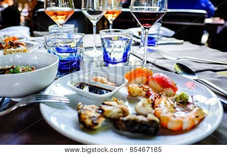 assorted sashimi and sushi