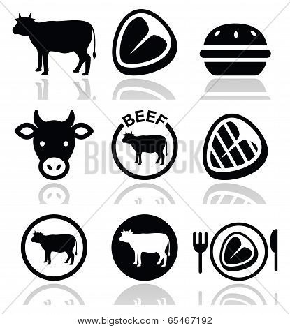 Beef meat, cow vector icon set