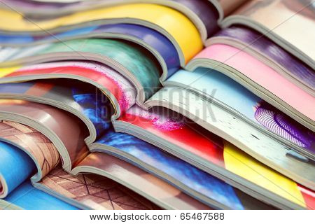 stack of magazines - information