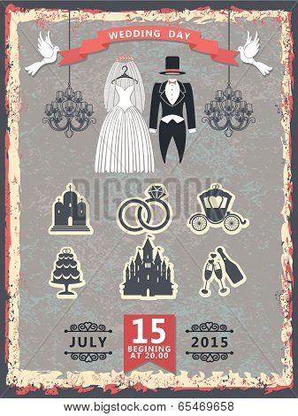 Vintage Invitation With Wedding Clothes And Icons