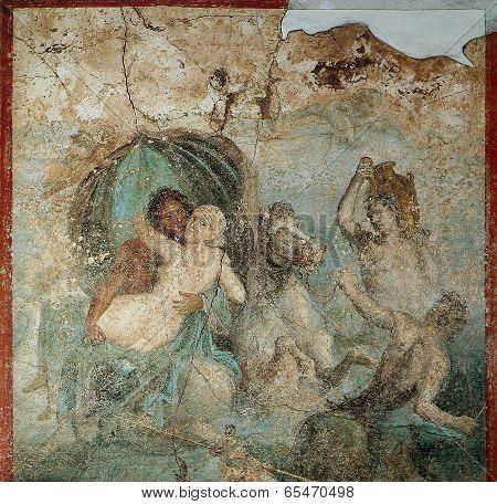 Frescoes in Pompeii ruines, Naples, Italy