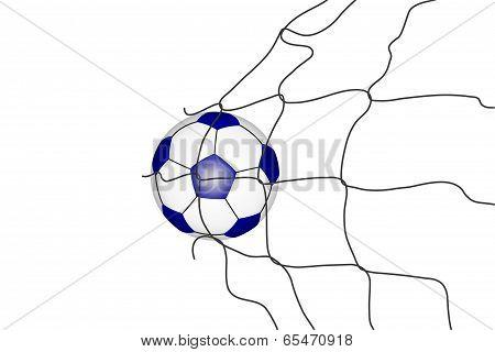 Isolated soccer ball in the goal net .