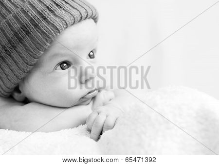 Cute Newborn Baby Looking