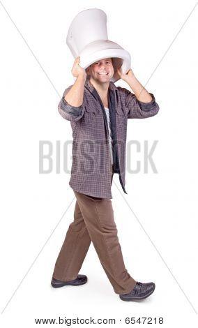 man wearing a toilet