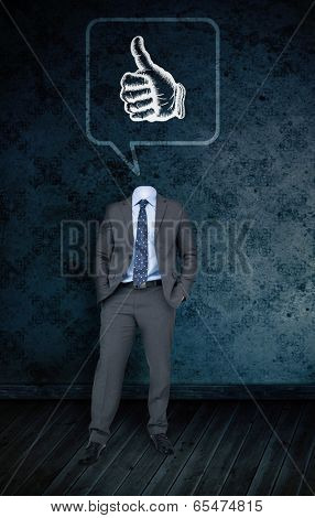 Composite image of headless businessman with thumbs in speech bubble against dark grimy room