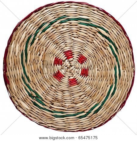 Wicker placemat surface top view texture Isolated on white background
