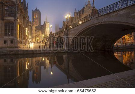 Michael S Bridge And City Belfot Of Gent In Fog