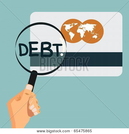 Credit Card Magnify Glass And See Big Debt, Vector.