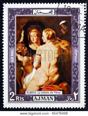 Postage Stamp Ajman 1969 Venus At A Mirror, Rubens