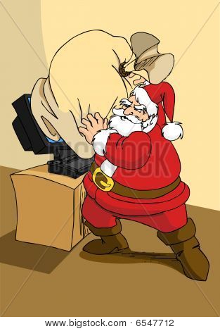 Santa Claus trying to to send  Christmas gifts via web